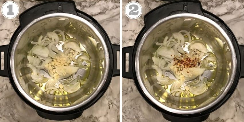 steps one through two cooking onions in Instant Pot