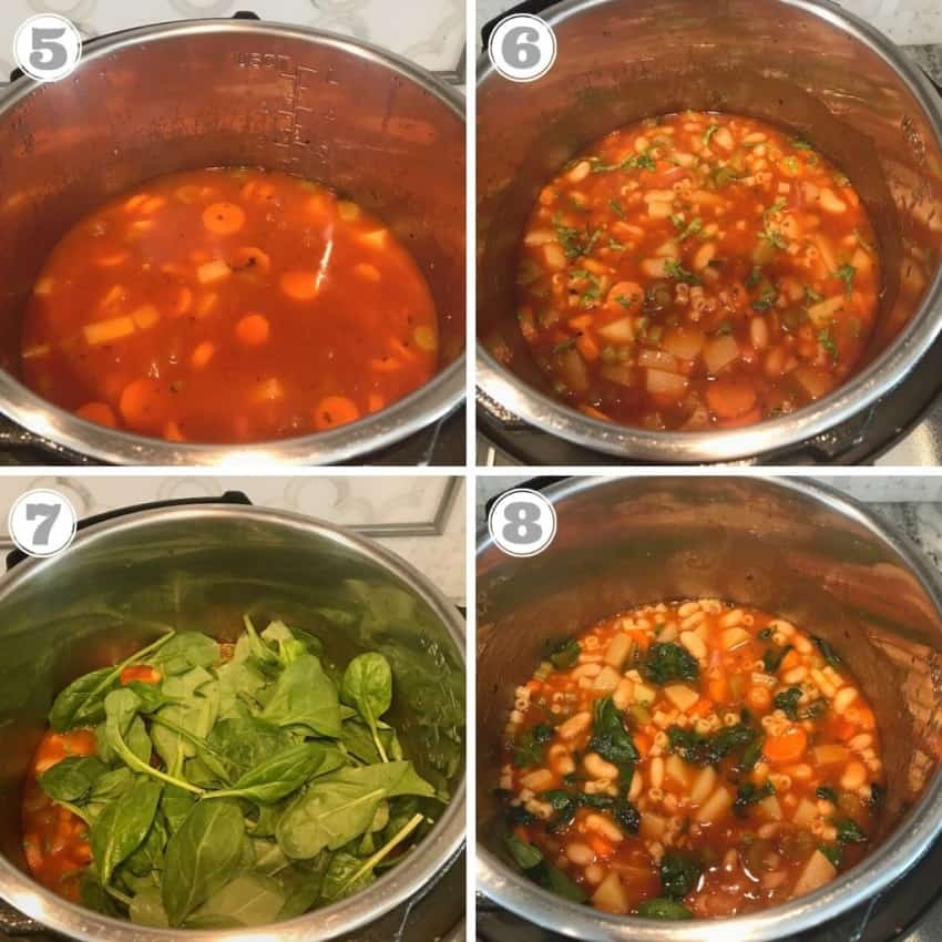 steps five through eight showing adding broth and spinach to soup