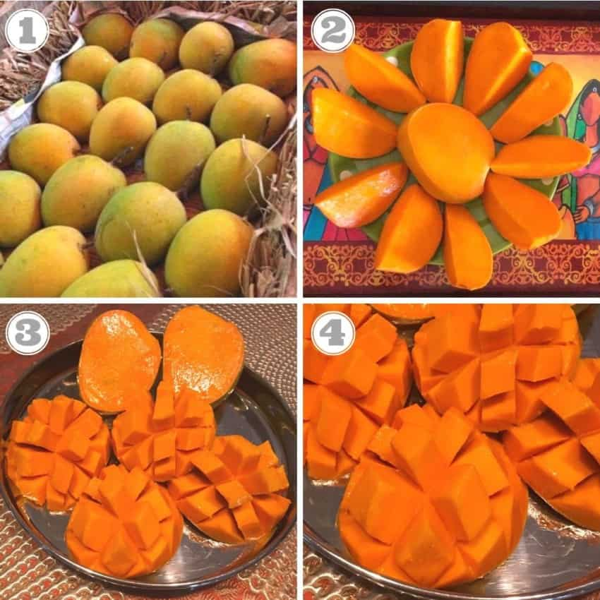 photos of mangoes in a box and cut up
