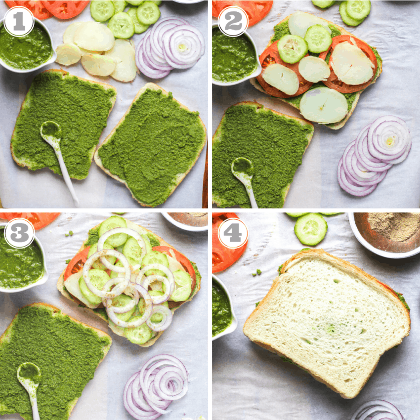 steps one through four of making bombay sandwich