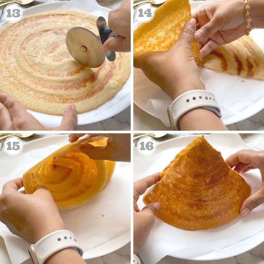 steps thirteen through sixteen showing how to fold cone shaped dosa