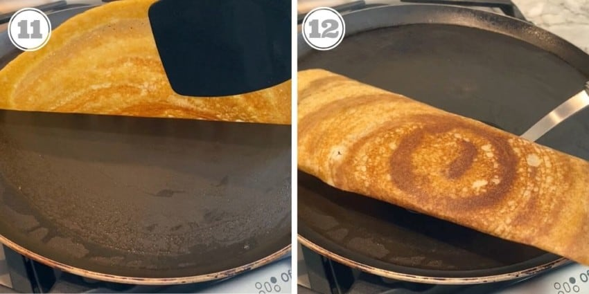 steps eleven and twelve showing cooked dosa on the pan