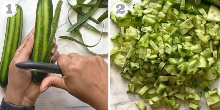 peeling and dicing cucumbers