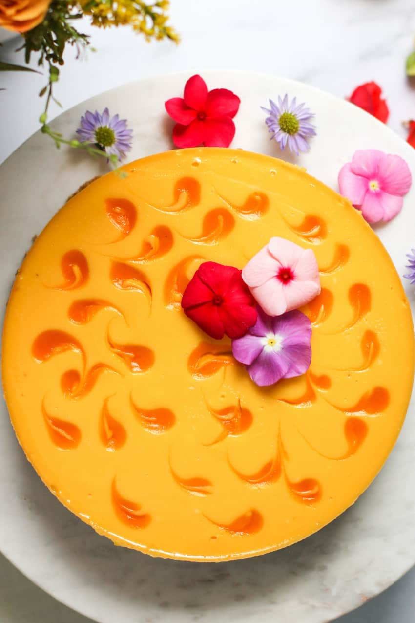 Mango Cheesecake on a white platter