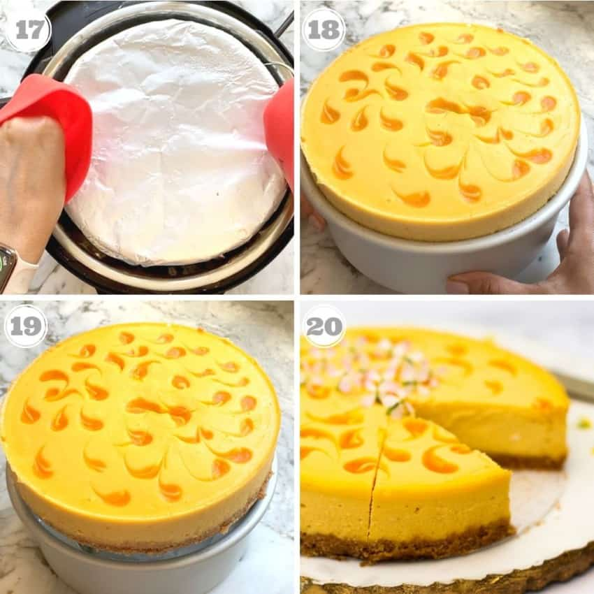 process showing how to take cheesecake out of the pan