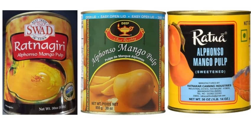 mango pulp cans from 3 different brands