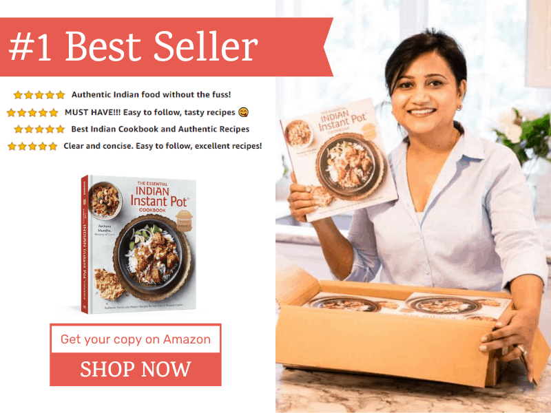 Archana holding Essential Indian Instant Pot Cookbook