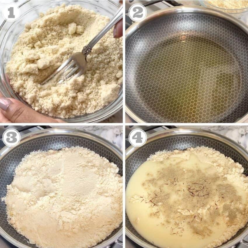 cooking badam burfi in a pan