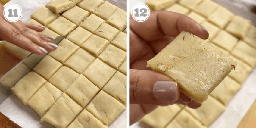 cutting almond fudge