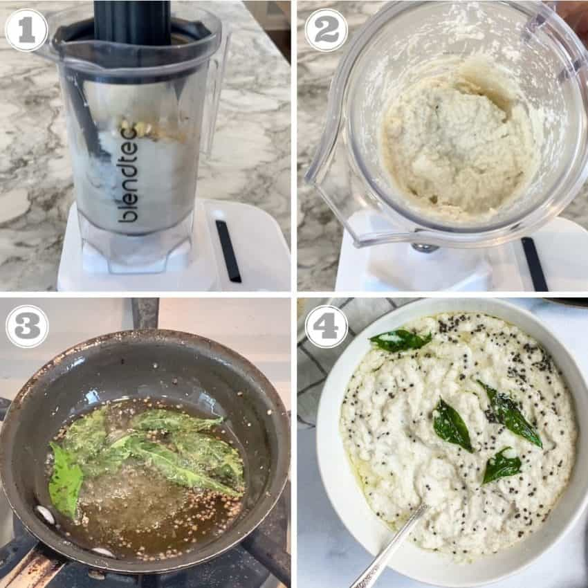 Steps one through four of making coconut chutney