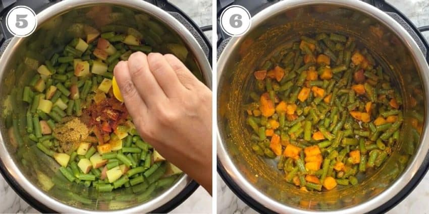 squeezing lemon to the cooked green bean curry