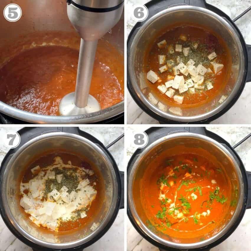 blending tha sauce and adding paneer, cream and garnish