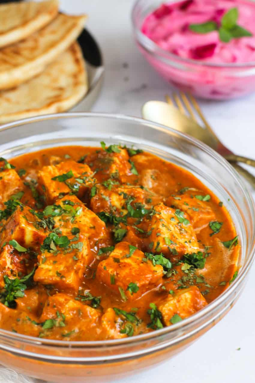 paneer butter masala in a bowl