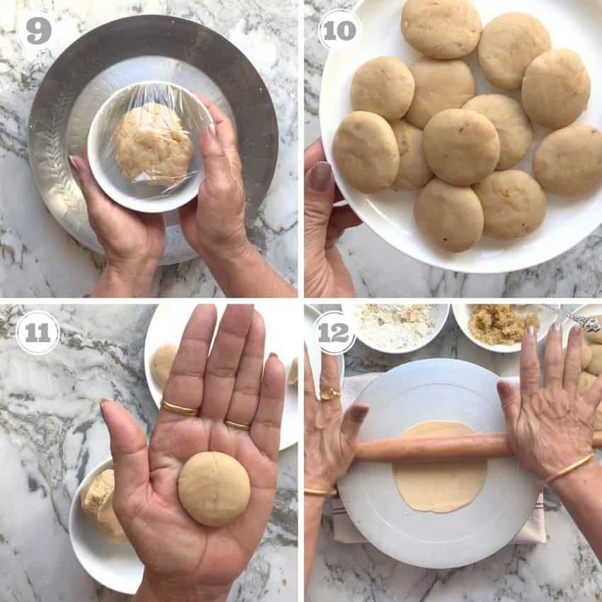making dough balls and rolling