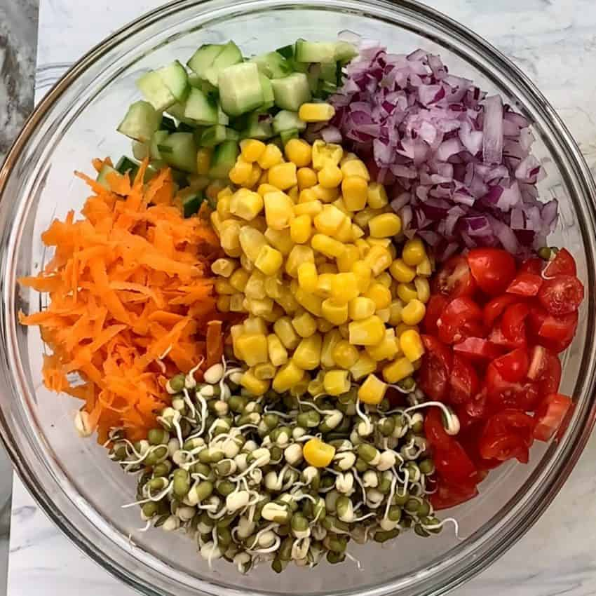 Ingredients for mung bean salad in a bowl