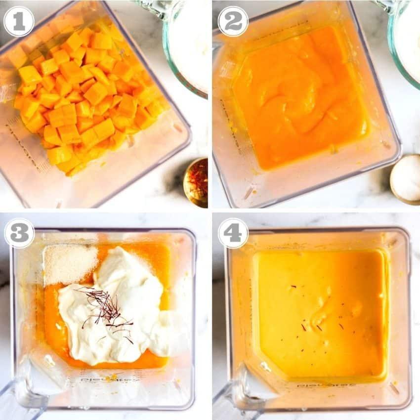 steps one through four showing mango, yogurt, sugar and saffron in blender