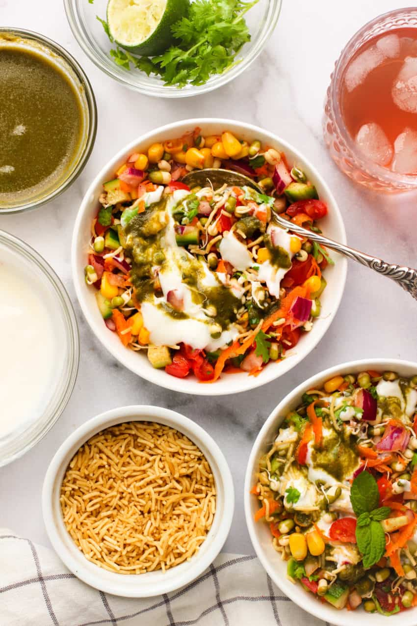 mung bean salad topped with green chutney and yogurt