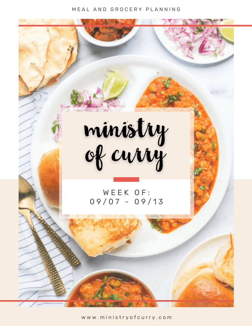 Ministry of Curry Meal Plan and Grocery List Week of 090720