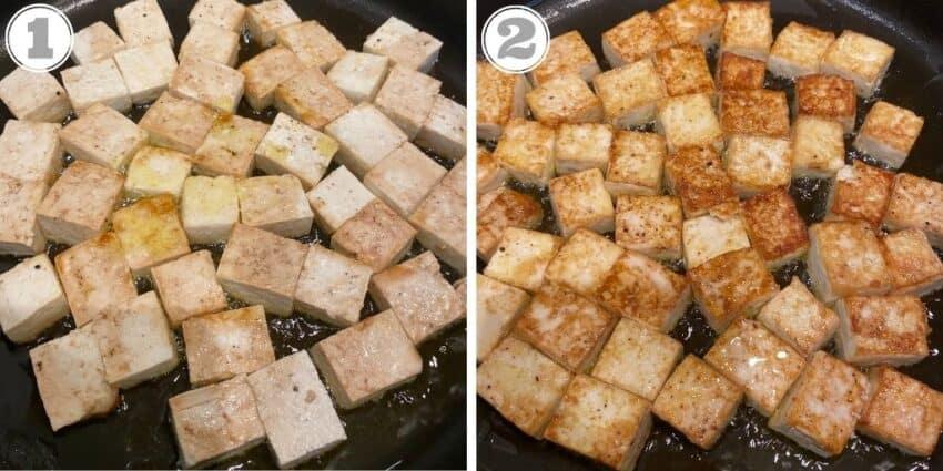 Pan frying tofu