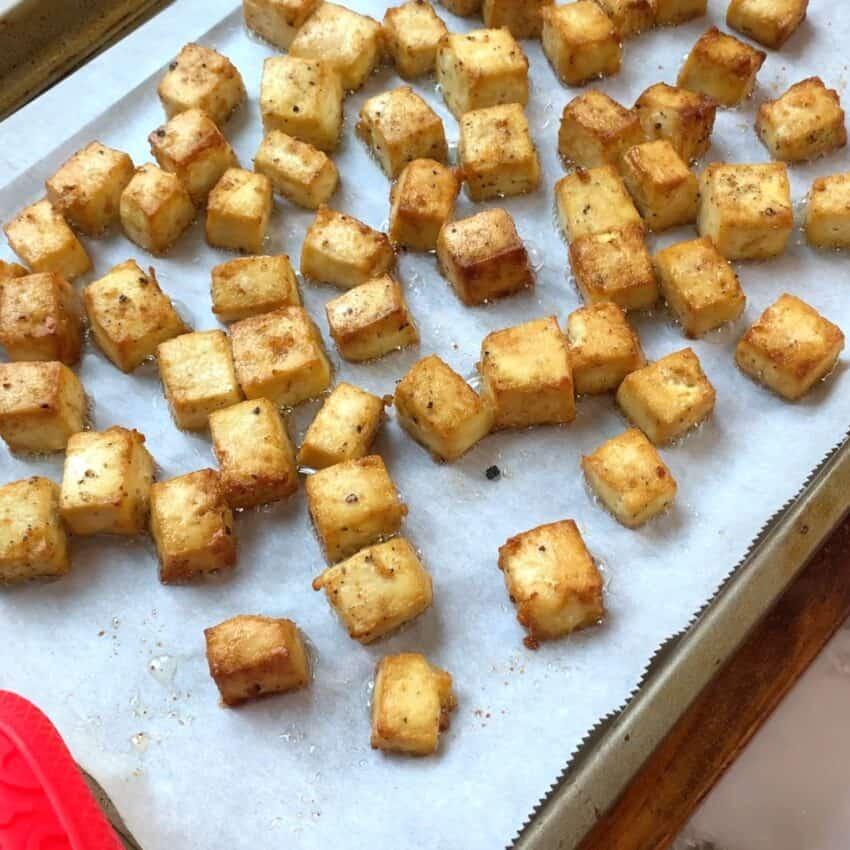 baled tofu on a baking tray