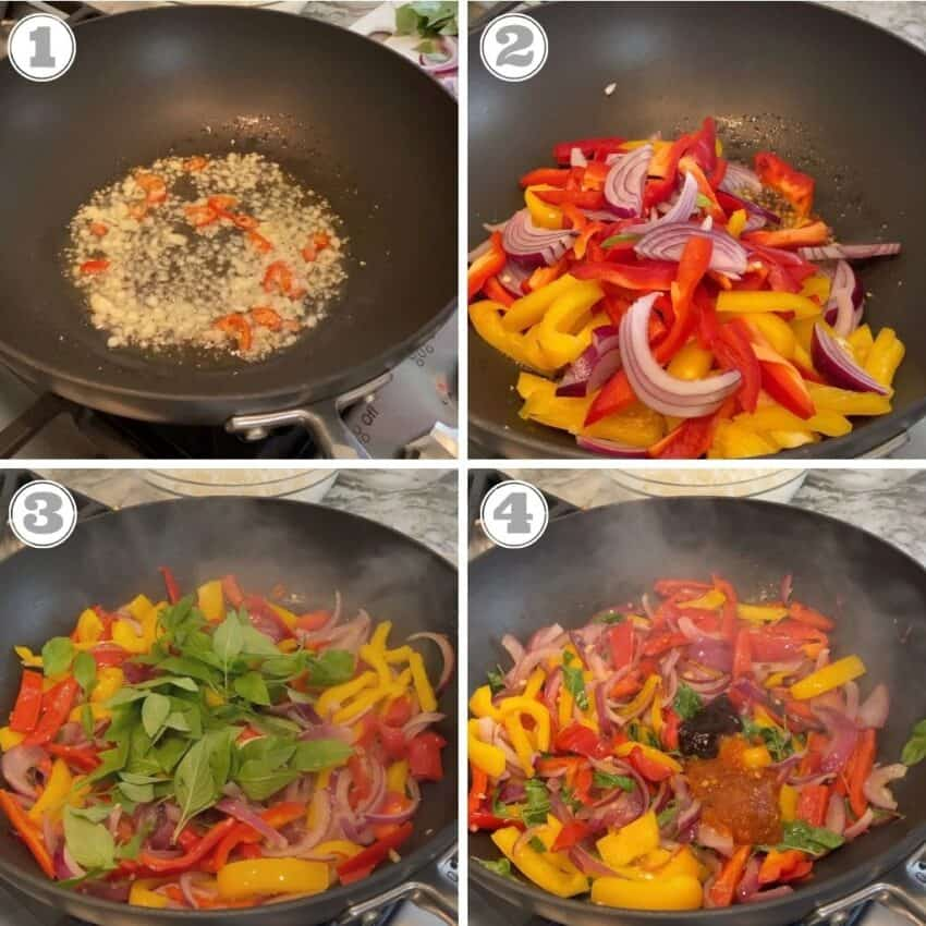 The first steps to make Thai basil fried rice in the wok