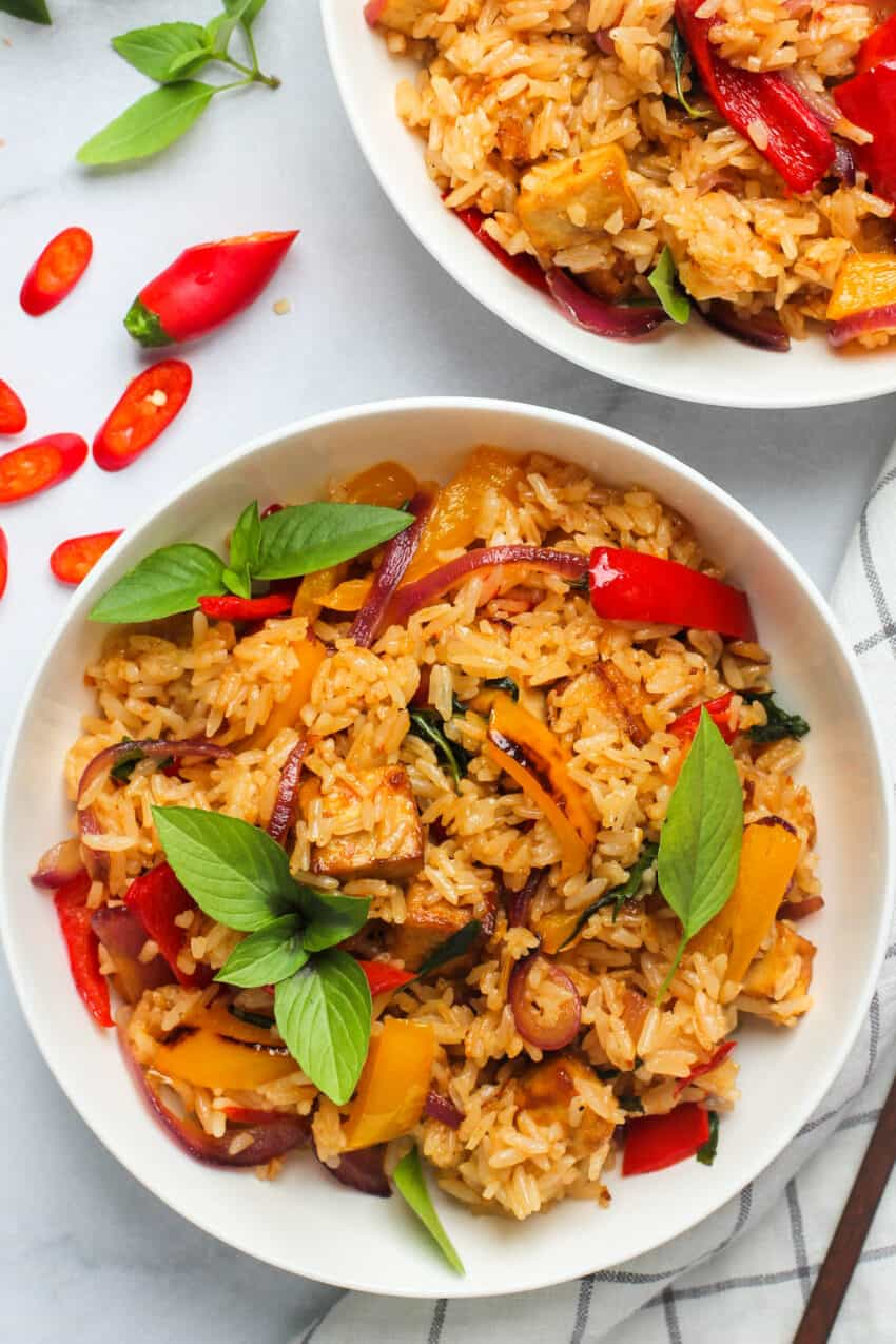 Two bowls of Thai Basil fried rice