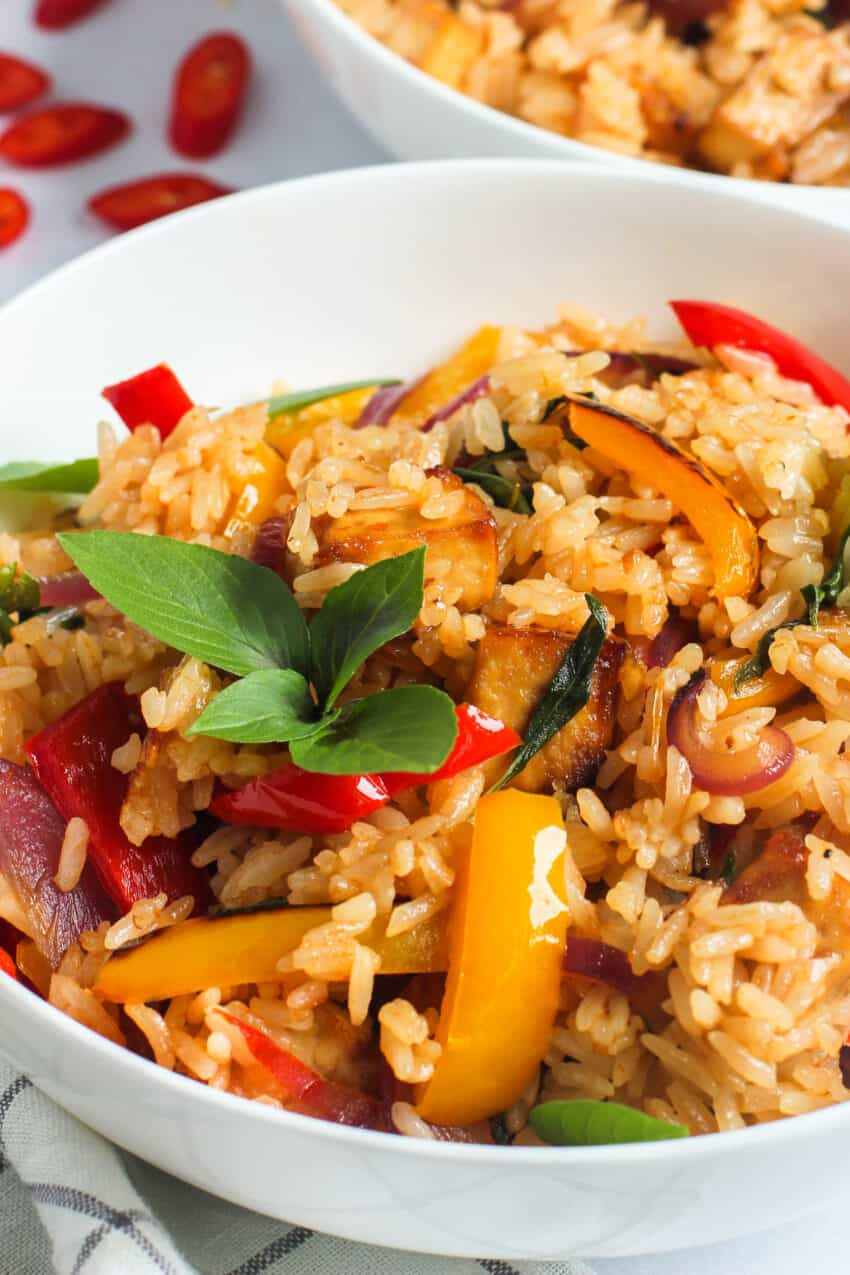 A bowl of Thai basil fried rice