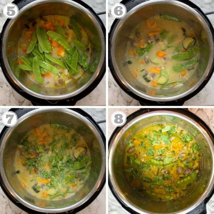 steps five through eight of making Thai Green curry in the instant pot