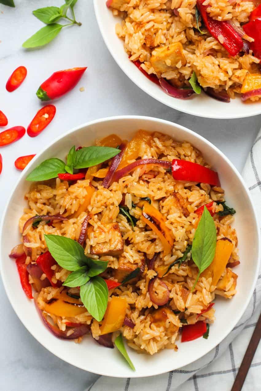 Thai Basil Fried Rice in white bowls