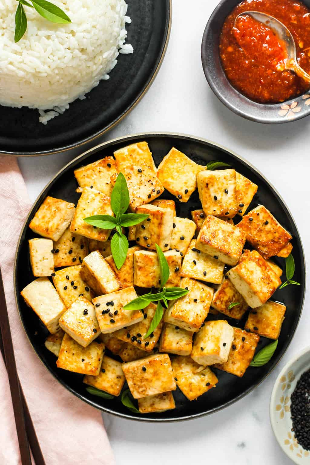 Tofu served with rice and hot sauce