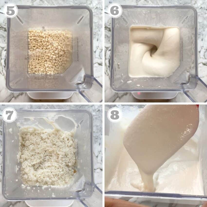 steps five through eight of how to make idli batter