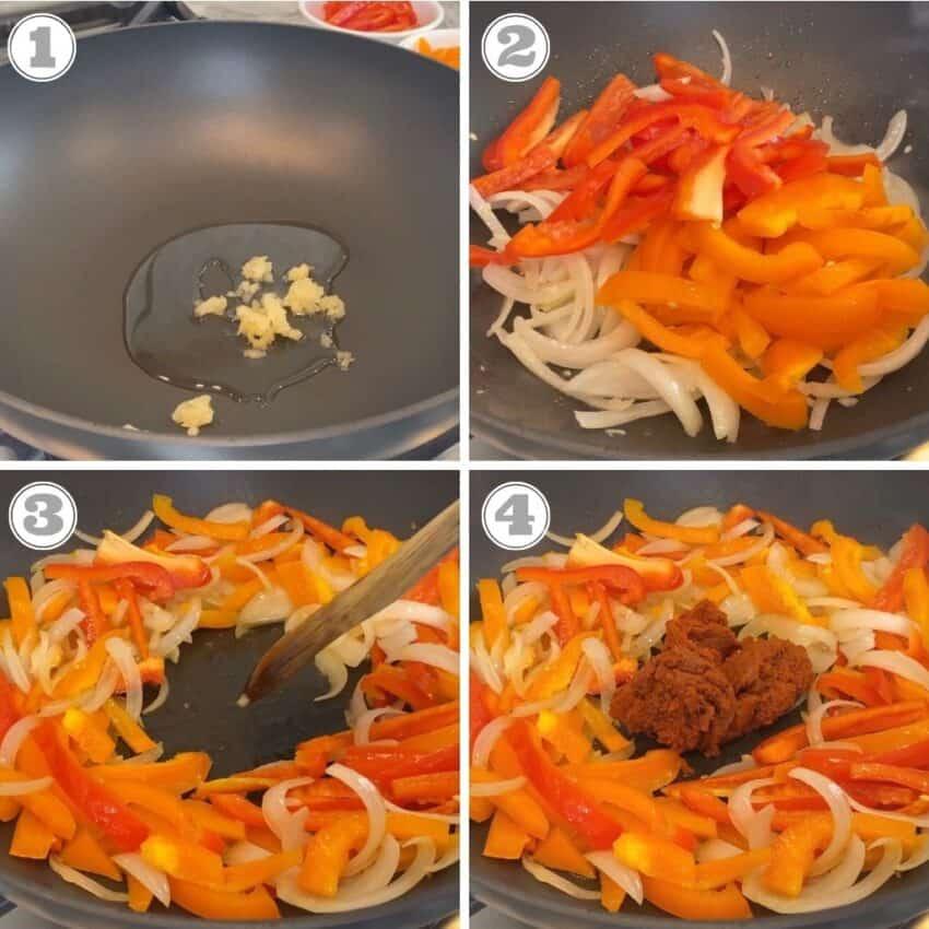 Photos one through four of making Thai curry
