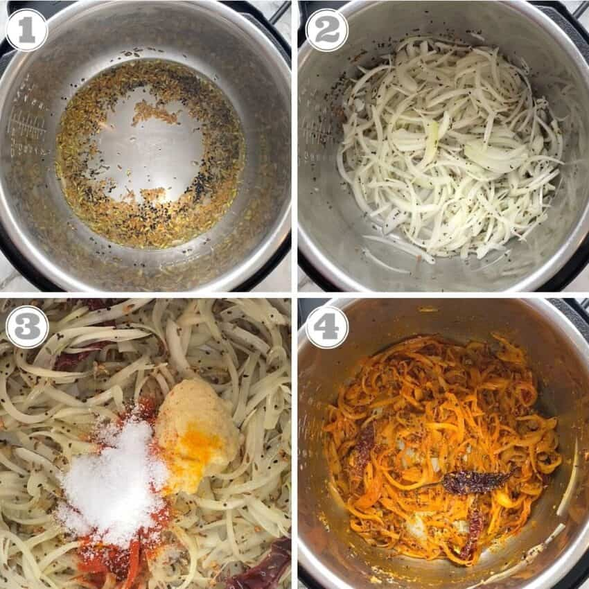 Frying spices and onions in the Instant Pot