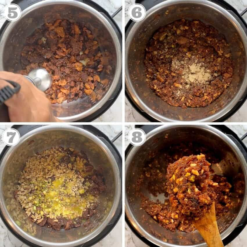 steps 5 to 8 showing how to make fig & walnut halwa