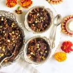 Fig & walnut halwa served in silver bowls