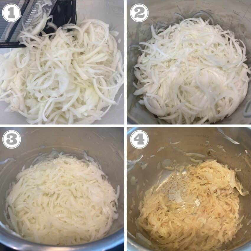 steps one through four of making french onion soup