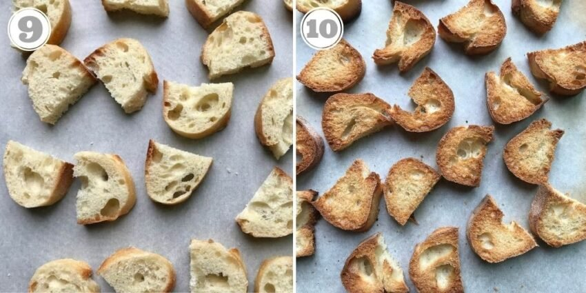 steps nine and ten showing how to make croutons