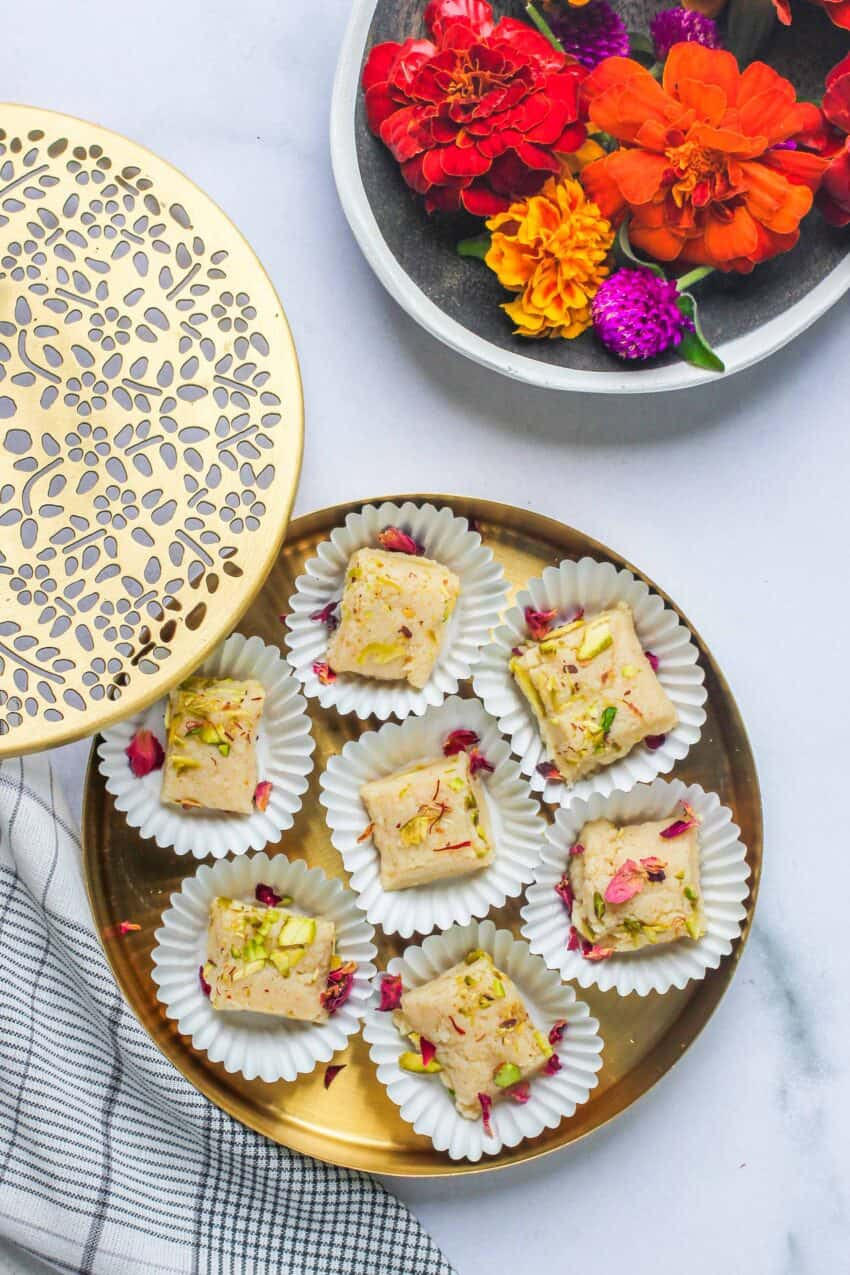 kalakand in paper cupcake liners