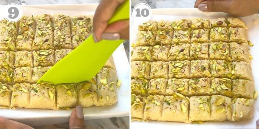 photos nine and ten of making kalakand