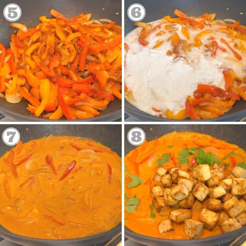 Photos five through eight of making Panang Curry