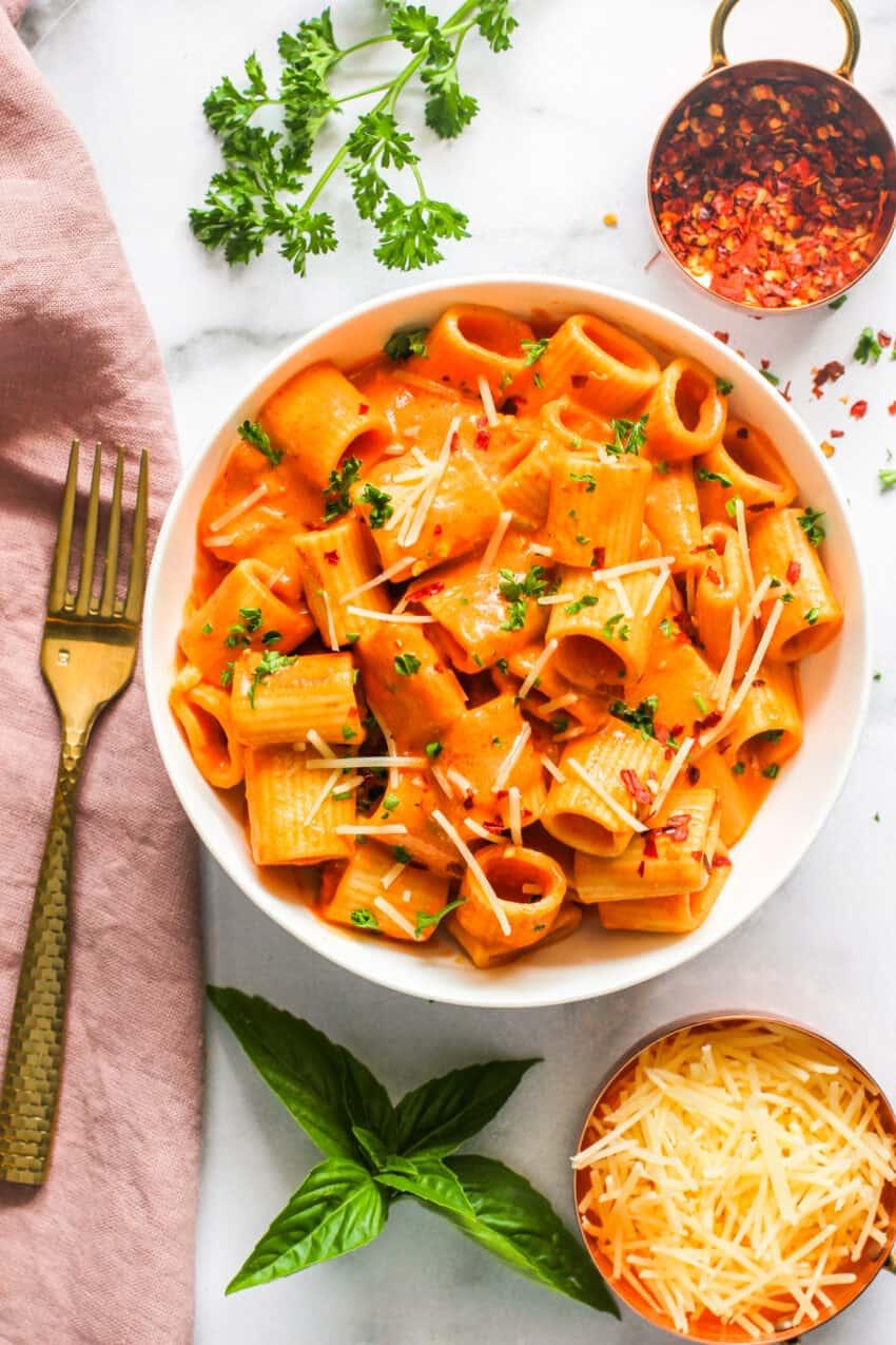penne alla vodka pasta in a bowl