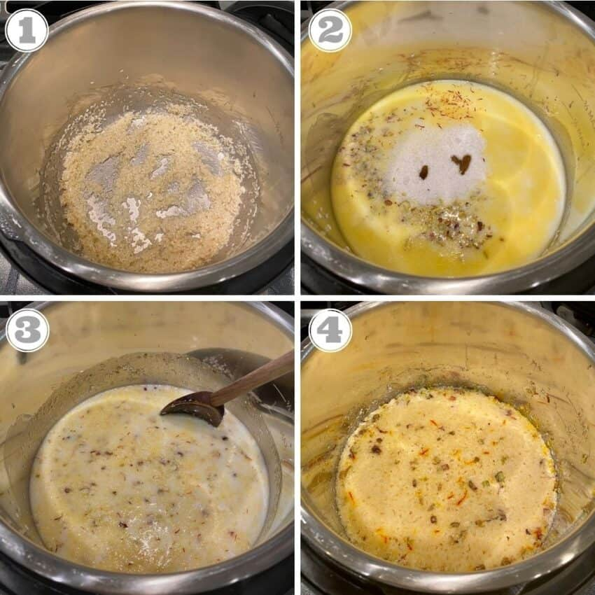 Steps one through four of making rice kheer