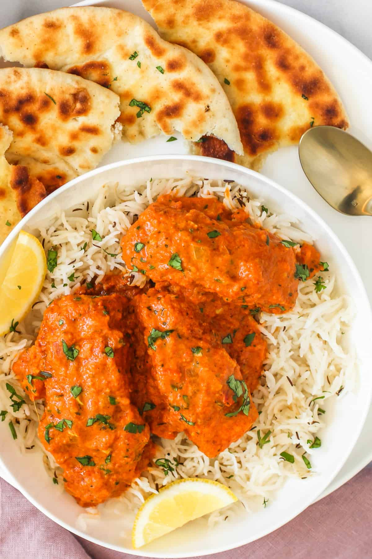 salmon tikka masala served over rice