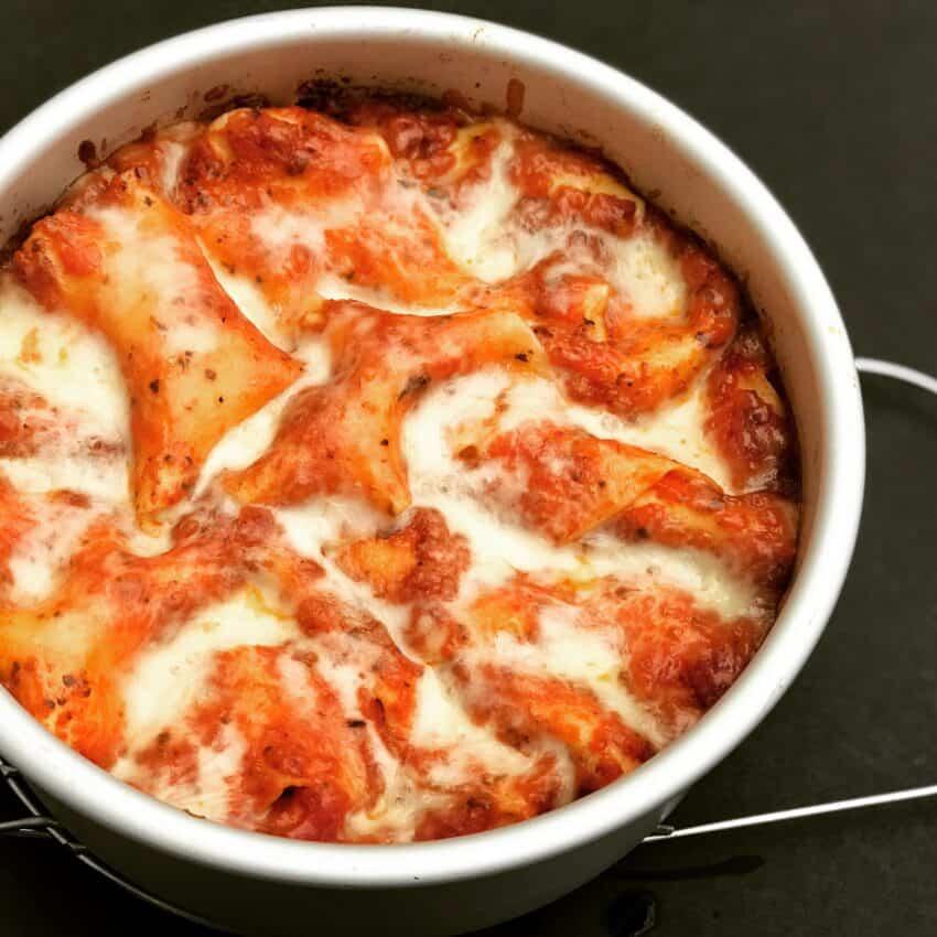 lasagna in a cake pan