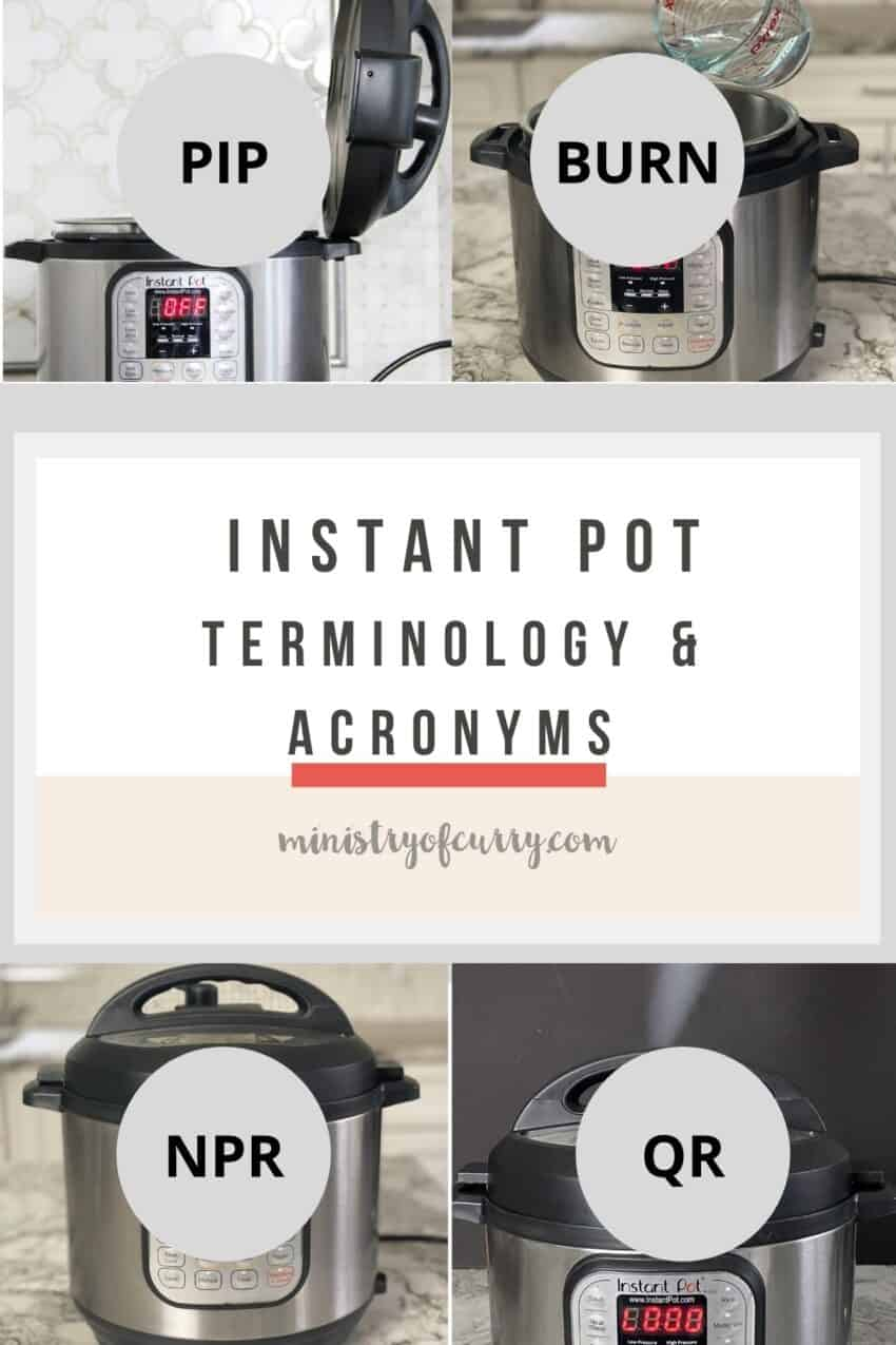 collage of Instant Pot photos with different acronyms