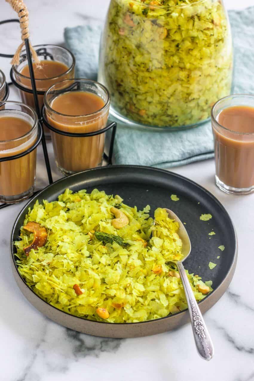 Poha Chivda served with tea