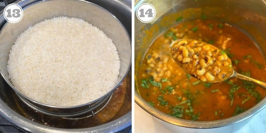 steamed rice and curried black eyed peas in the Instant Pot