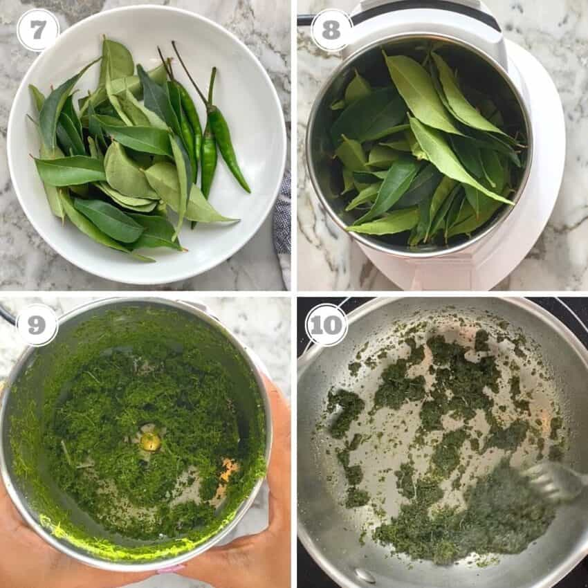 crushed and fried curry leaves & chilies