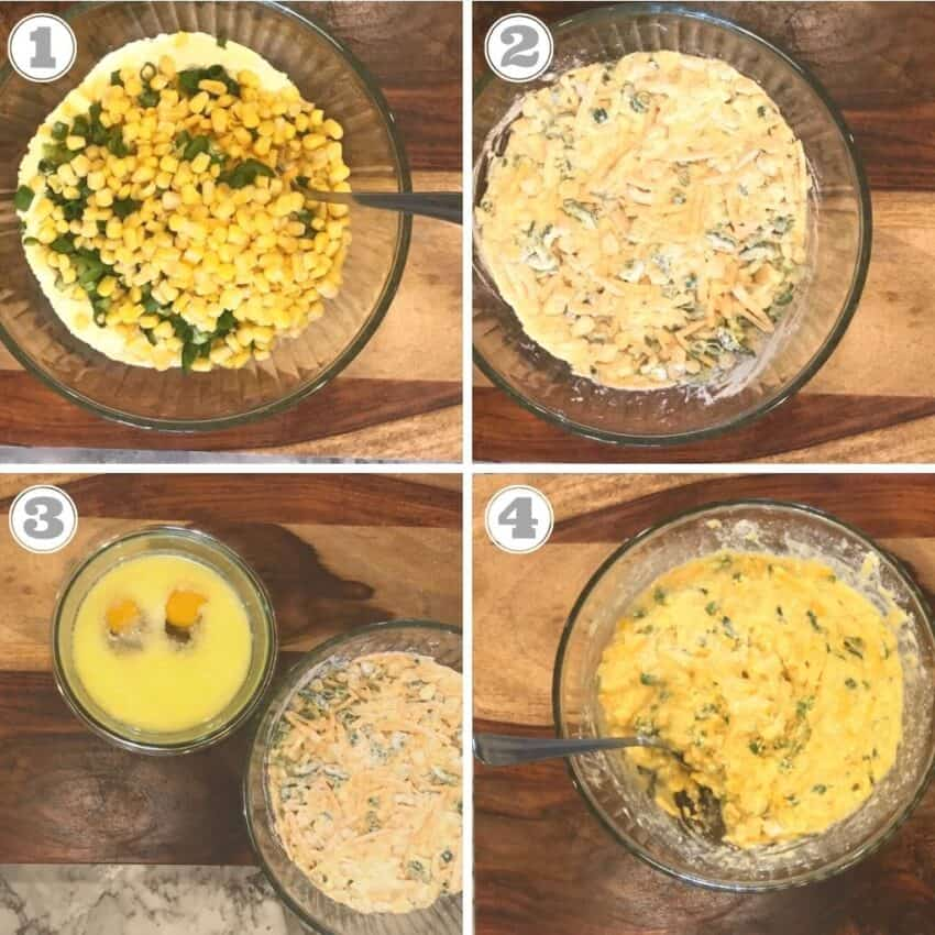 steps one through four showing mixing the ingredients in a bowl