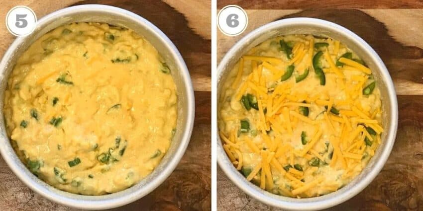 steps five through six showing batter with cheese in cake pan